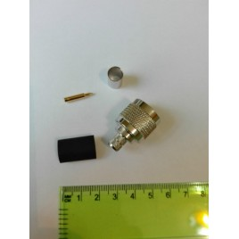ВЧ разъем N типа вилка (папа), обжимной, под коаксиальный кабель 5D-FB, пин под пайку.