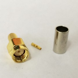 (rp-sma-male) ВЧ разъем S-A111F, RP SMA серии , реверсный , папа  (вилка), обжимной,для коаксиального кабеля  RG-58, пин под пайку.