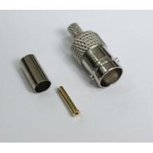 Разъем BNC-female, обжимной,для коаксиального кабеля RG-58, пин под пайку.